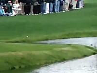 奇跡のショット!水面を跳ねたボールがホールインワン!マスターズ2009