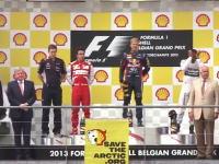 F1ベルギーGPの表彰台にグリーンピースがこっそり抗議の乱入。スポンサー抗議