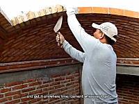 職人動画。レンガとセメントで感覚だけを頼りにアーチ状の屋根を作る方法。