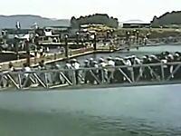 中国で新しい橋が崩壊。渡っていた数十名が落っこちてしまう瞬間の映像。