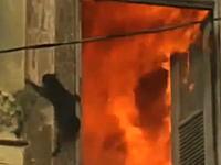 火災現場から必死に逃げているネコちゃんの映像二つ
