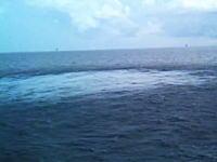 海中で発破作業を行うと海上からはこんな感じで見えるらしい。バンバンバーン
