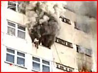 マンション火災、逃げ遅れた人達が次々と窓から飛び降りる・・・。