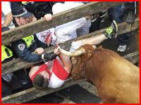 角で突かれて太ももぱっくり(((゚Д゚)))牛追い祭りって明らかに危険じゃね??