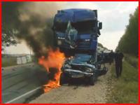 車内に人が・・・。事故で生きたまま焼かれてしまった男性の叫び声が怖い動画。