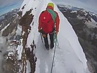 山動画。天空の尾根。左右絶壁!マッターホルンの超ほそい道を行く登山者たち。