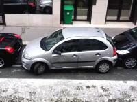 これが海外流。完全に無理なスペースに縦列駐車するテクニックを披露した女性。