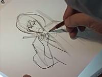 アニメーターの作画風景。ルパン三世の石川五ェ門が抜刀するシーンの10枚。大塚康生さん