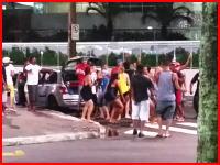 路上の集団ヤウェーイ!に参加しようと道路を横断した男性がひき逃げされる(@_@;)