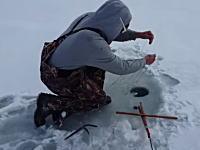 うそん!氷穴釣りでまさかの獲物が釣れた動画。こいつ溺れ死ぬ所だったんじゃないの