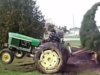 ゴールデンウィークに一番ワロタwww引っこ抜こうとするトラクターに抵抗するツリーwww