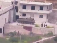 シリア動画。反乱軍のTOWミサイルに破壊される正規軍の戦車。アッラーフ・アクバル