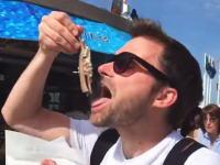 これは奇跡のハプニングが撮れたwww旅行者がオランダの露天でハーリングを食べようとしたところ・・・。