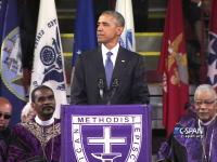 カッコヨスギ。オバマ大統領が葬儀のスピーチで突然アメイジング・グレイスを歌いだす。