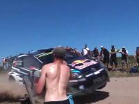 ラリーをコース脇で観戦するのは危険がいっぱい8秒動画。いってえwww