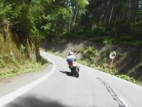 カーブを見落とした?ツーリング中のバイクがカーブを直進して茂みに特攻。
