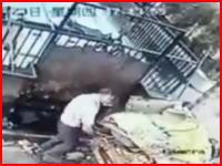ゴミ処理の機械に滑り落ちて巻き込まれて亡くなった男性のビデオ。中国。