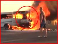 これはきっつい(@_@;)炎上した車に取り残されて生きたまま焼かれてしまった男性。