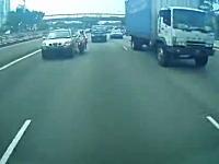 SUVの死角。すり抜けバイクがSUVに弾かれて転倒した所をトラックに踏まれる(°_°)