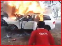 炎上する車内に取り残された男性の苦痛の叫び。6名が死亡した恐ろしい事故のビデオ。