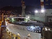 三菱重工造船所タイムラプス。長崎造船所でアイーダの大型客船が組み立てられる様子。