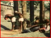 柱に磔にして大統領の弟ら13人を公開銃殺。リベリア軍事クーデター1980年のビデオ。