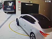 韓国で機械式の立体駐車場に飲みこまれそうになる恐怖の映像が撮影される。