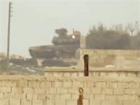 グングン動画。アレッポでT-90(戦車)にTWOが打ち込まれるビデオ。