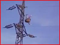 これは死んだかな(°_°)鉄塔に登っていた男性が手を滑らせてずり落ちてしまい・・・。