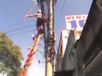 電線工事中にド派手に感電してしまった作業員のビデオが話題になってる。