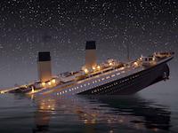 タイタニックが氷山に接触してから沈没するまでのリアルタイムアニメーション。