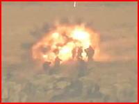 シリア衝撃映像。生身の人間に対戦車誘導ミサイルが撃ち込まれる瞬間。