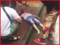 瀕死の重傷。5階から落ちて地面に叩きつけられた4歳の女の子を撮影。