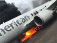 炎上したアメリカン航空383便から滑走路へ緊急脱出する様子を乗客が撮影したビデオ。