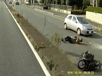 川口ネコ全速力で車道に飛び出してスクーターを転倒させる。これは無理だ(´・_・`)