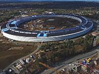 完成しつつあるアップルの広大な新社屋を空撮。アップルキャンパス2