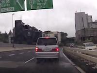 首都高で急停車したアルファードのせいで後ろから突っ込まれた車載。