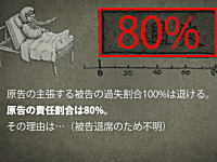 裁判は忘れた頃に最終回。簡裁の示した過失責任割合は原告80%被告20%となった模様。