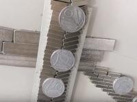 ネオジム磁石とアルミ硬貨でこんな楽しい遊びができるらしい動画。