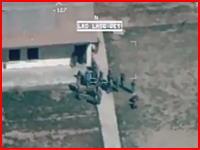 アフガニスタンで撮影された生身の人間に打ち込まれるミサイルの映像。