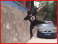パルクール的な?壁ジャンプにトライした中国の少年がとても痛い事に(@_@;)