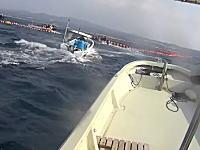 沖縄で抗議船と海上保安庁のゴムボートが衝突(動画)沖縄って海上でも抗議してたのか。