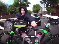もうちょいだったなwww走行中のリアキャリアから自転車を盗もうとする泥棒。