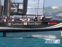 ヨットレースのアメリカズカップで起きた日本とイギリスチームのクラッシュ映像。