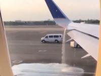 ユナイテッド航空が起こした燃料漏れ事故の映像。予想していたよりだだ漏れwww