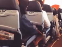 タービンブレードの破損により超振動が発生しているエアバスA330の機内映像。
