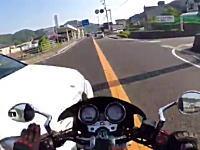 まさか車が出てくるとは【広島】愛車のバイクをお釈迦にしてしまった車載。