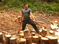 両手に持った斧をぶん回しながら薪割りし続ける男のビデオがなんか怖い(°_°)