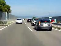 中央道テールトゥーノーズ。プリウスのキチガイすぎる煽り運転が撮影される。