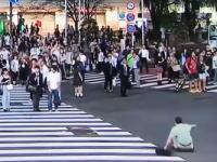 渋谷のスクランブル交差点に突っ込んだ逃走車に蹴りを入れる男性の映像が話題。